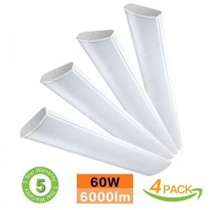 4FT LED Commercial Wraparound Shop Light Fixture 60W 6000lm Low Bay Linear Flushmount Office Ceiling [4 lamp 32W Fluorescent Equivalent] 5000K Daylight White ETL Listed