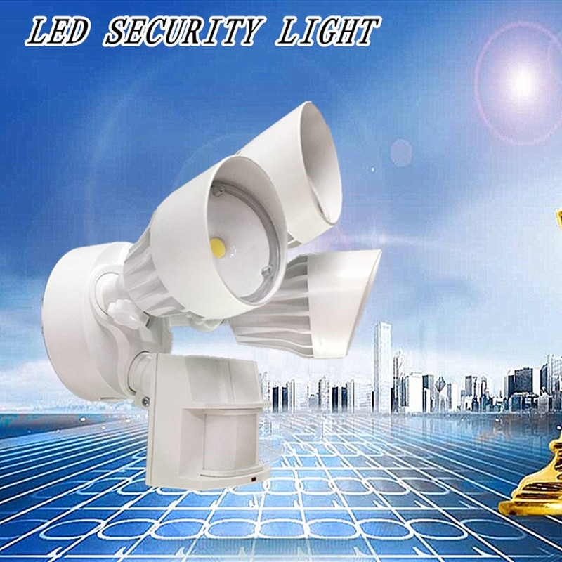 LED Outdoor Flood Security Light with Motion Sensor, 30W, 3 Head, White, Motion Light